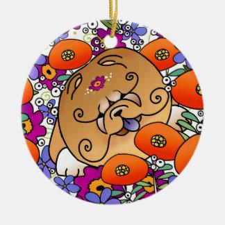 Perro chino del FLOWER POWER de BINDI - ornamento