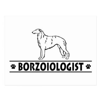 Perro chistoso del Borzoi Postal