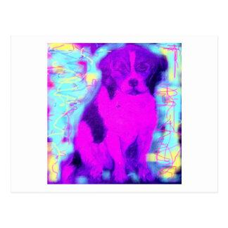 perro colorido del beagle postal