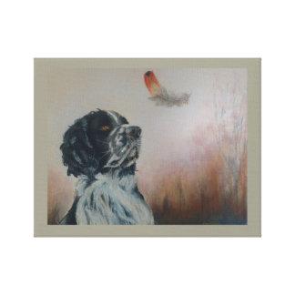 Perro de aguas y la pluma, arte en colores pastel