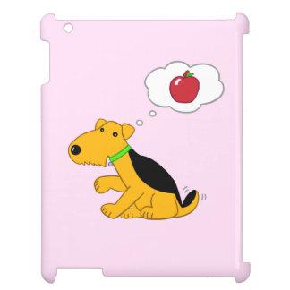 Perro de Airedale del dibujo animado que piensa en