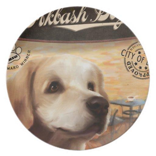 Perro de Akbash del café Platos De Comidas