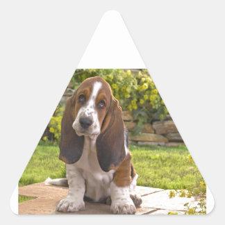 Perro de Basset Hound Pegatina Triangular