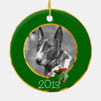 Perro de bull terrier adorno redondo de cerámica