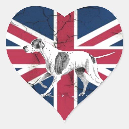 perro de caza británico moderno de Londres del Calcomanía De Corazón