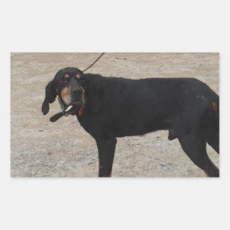 Perro de caza cansado pegatina rectangular