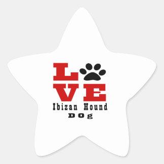 Perro de caza Designes de Ibizan del amor Pegatina En Forma De Estrella