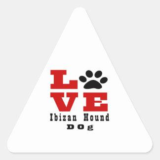 Perro de caza Designes de Ibizan del amor Pegatina Triangular