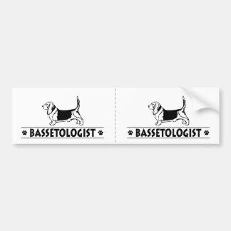 Perro de caza divertido del Bassett Pegatina De Parachoque