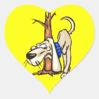 Perro de caza pegatina en forma de corazón