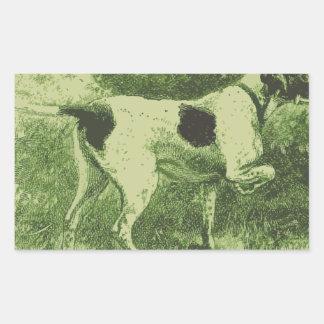 Perro de caza pegatina rectangular