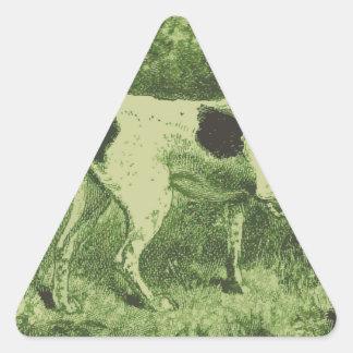 Perro de caza pegatina triangular