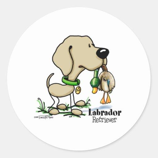Perro de caza - pegatinas amarillos del labrador etiqueta redonda