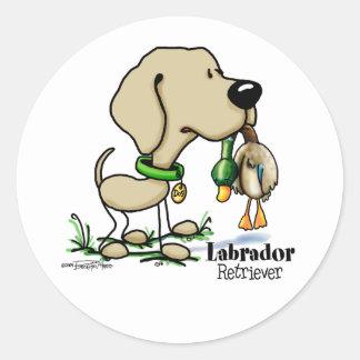 Perro de caza - pegatinas amarillos del labrador pegatina redonda