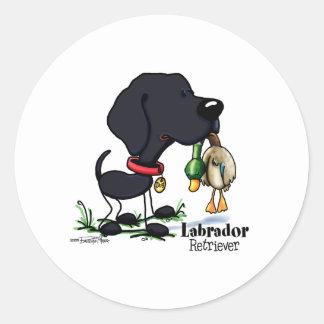 Perro de caza - pegatinas negros del labrador pegatinas redondas