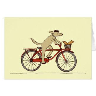Perro de ciclo con el amigo de la ardilla - arte tarjeta pequeña