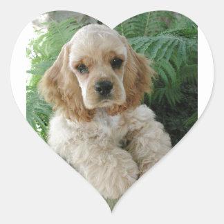 Perro de cocker spaniel del americano y el helecho pegatina en forma de corazón