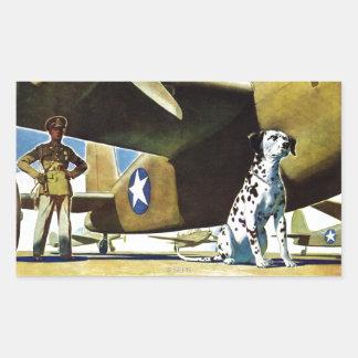 Perro de ejército pegatina rectangular