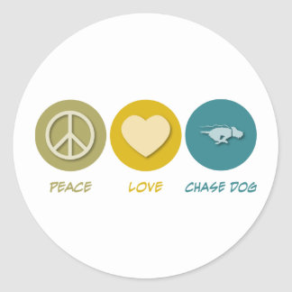 Perro de la caza del amor de la paz pegatinas