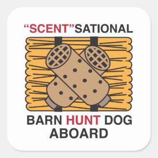 Perro de la caza del granero del Olor-Sational Pegatina Cuadrada