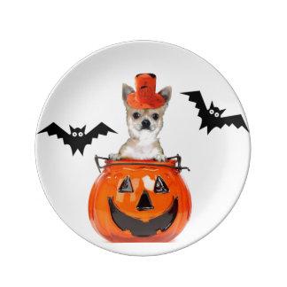 Perro de la chihuahua de Halloween Plato De Cerámica