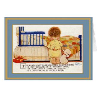 Perro de los niños de la tarjeta del vintage