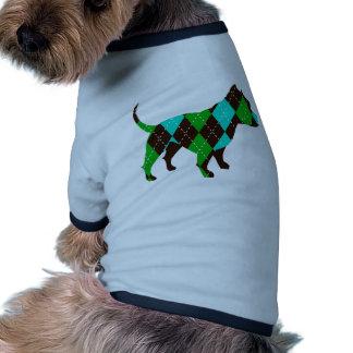 Perro de muy buen gusto Pitbull de Argyle (azul/ve Camiseta De Perro