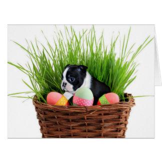 Perro de Pascua Boston Terrier Tarjeta De Felicitación Grande