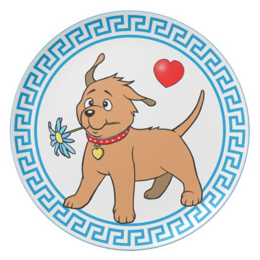 Perro de perrito con la flor - placa platos de comidas