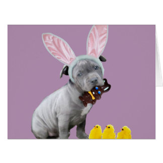 Perro de perrito de Pascua Pitbull Tarjeta De Felicitación Grande