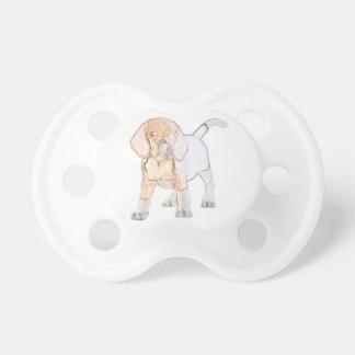 Perro de perrito del beagle de la acuarela chupetes de bebé