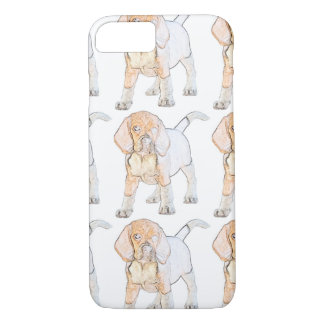 Perro de perrito del beagle de la acuarela funda iPhone 7