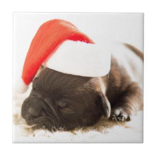 Perro de perrito el dormir en gorra del navidad de azulejo cuadrado pequeño