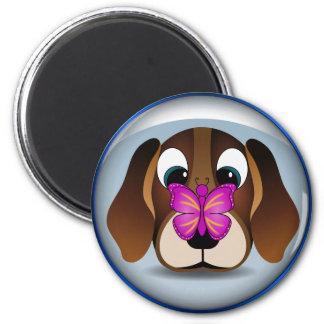 Perro de perrito lindo del beagle e imanes imán redondo 5 cm