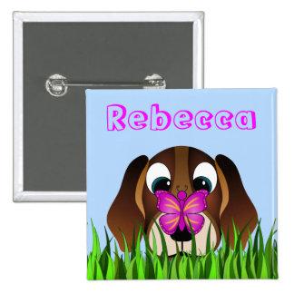 Perro de perrito lindo del beagle y botones chapa cuadrada 5 cm