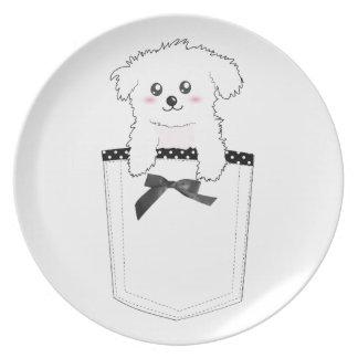 Perro de perrito lindo del bolsillo plato para fiesta