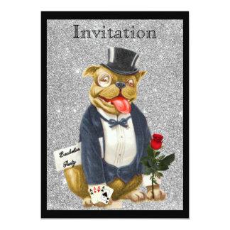 Perro de plata negro de Bull de la invitación de