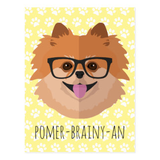 Perro de Pomeranian en vidrios del empollón el | Postal