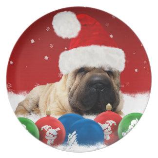 Perro de Shar Pei en placa del gorra de Santa Plato Para Fiesta