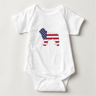 """Perro de Terranova - """"bandera americana """" Body Para Bebé"""