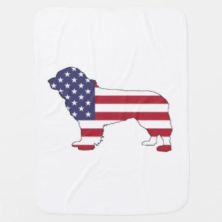 "Perro de Terranova - ""bandera americana "" Mantita Para Bebé"