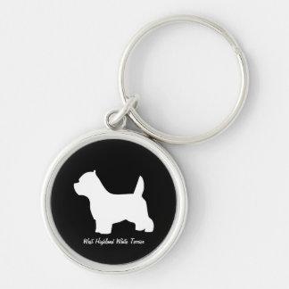Perro de Terrier blanco de montaña del oeste, silu Llavero Redondo Plateado