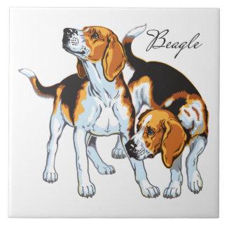 perro del beagle azulejo cuadrado grande