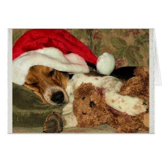 Perro del beagle el dormir Santa Snoopy - gracias Tarjeta Pequeña