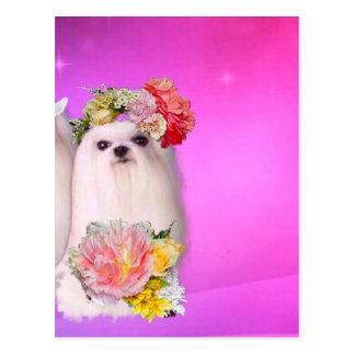 Perro del boda con las flores postal