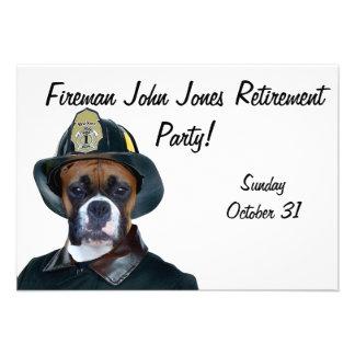 Perro del boxeador del bombero invitación personalizada