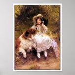 Perro del collie, chica e impresión del poster del