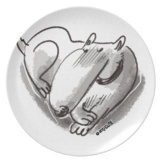 perro del corazón transparente platos