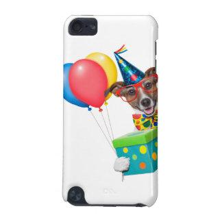 Perro del cumpleaños con el lazo y los vidrios de carcasa para iPod touch 5