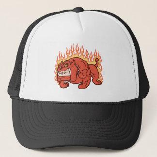 Perro del demonio - llamas gorra de camionero